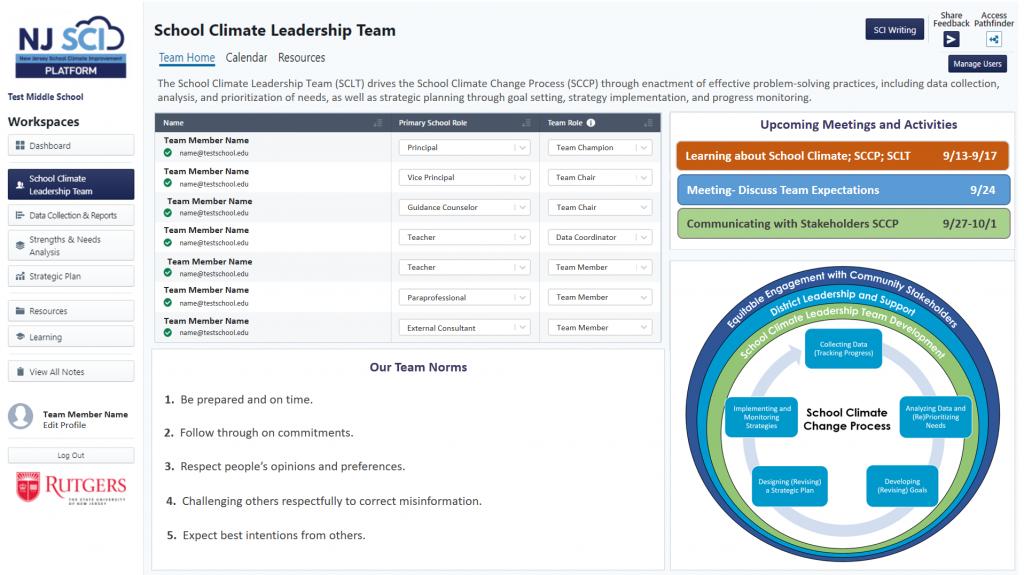 Leadership Team Page on NJ SCI Platform